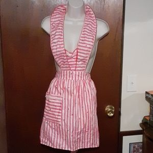 Vintage Apron w/ one pocket, Pink striped